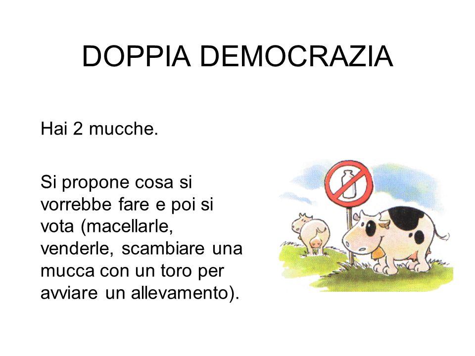 DOPPIA DEMOCRAZIA Hai 2 mucche. Si propone cosa si vorrebbe fare e poi si vota (macellarle, venderle, scambiare una mucca con un toro per avviare un a