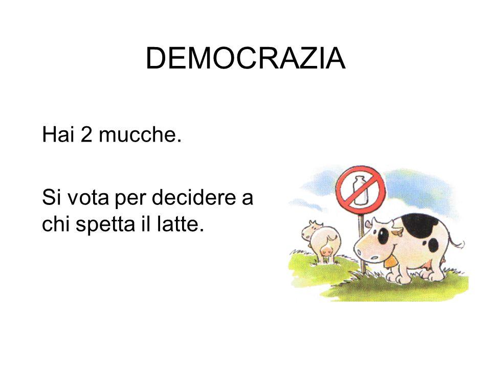 DEMOCRAZIA Hai 2 mucche. Si vota per decidere a chi spetta il latte.
