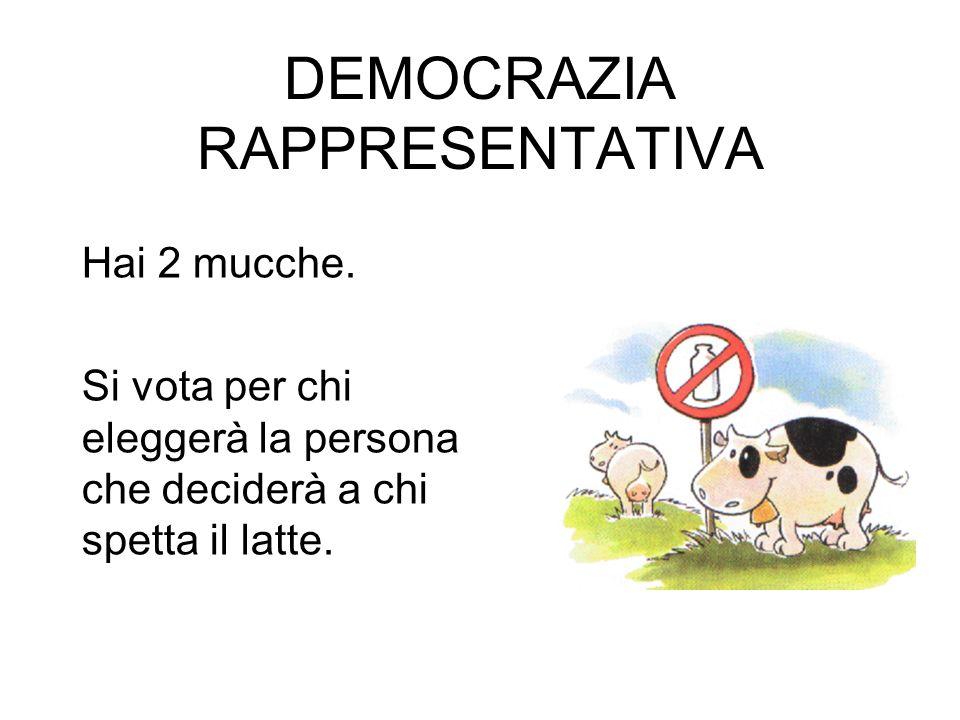 DEMOCRAZIA RAPPRESENTATIVA Hai 2 mucche. Si vota per chi eleggerà la persona che deciderà a chi spetta il latte.