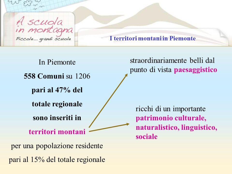 In Piemonte 558 Comuni su 1206 pari al 47% del totale regionale sono inseriti in territori montani per una popolazione residente pari al 15% del total