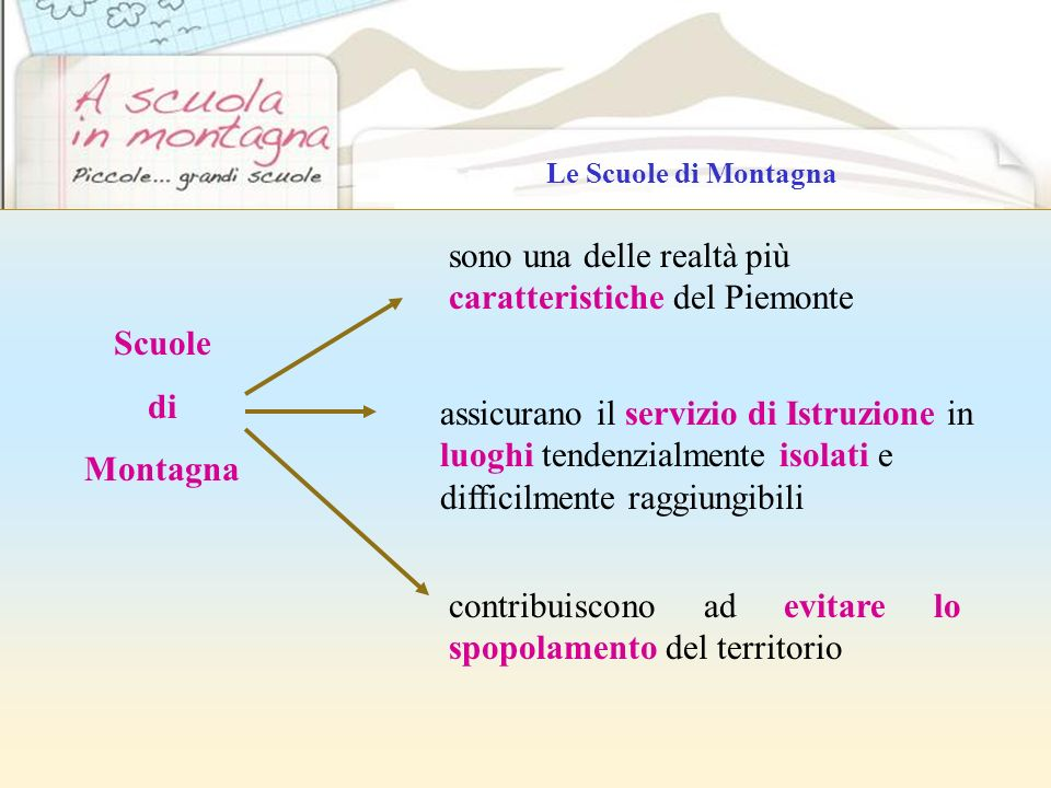 contribuiscono ad evitare lo spopolamento del territorio Scuole di Montagna sono una delle realtà più caratteristiche del Piemonte assicurano il servi