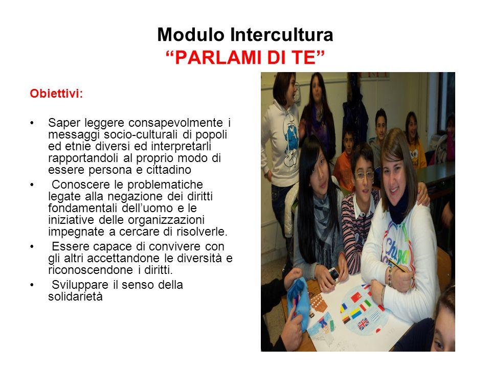 Modulo Intercultura PARLAMI DI TE Obiettivi: Saper leggere consapevolmente i messaggi socio-culturali di popoli ed etnie diversi ed interpretarli rapp