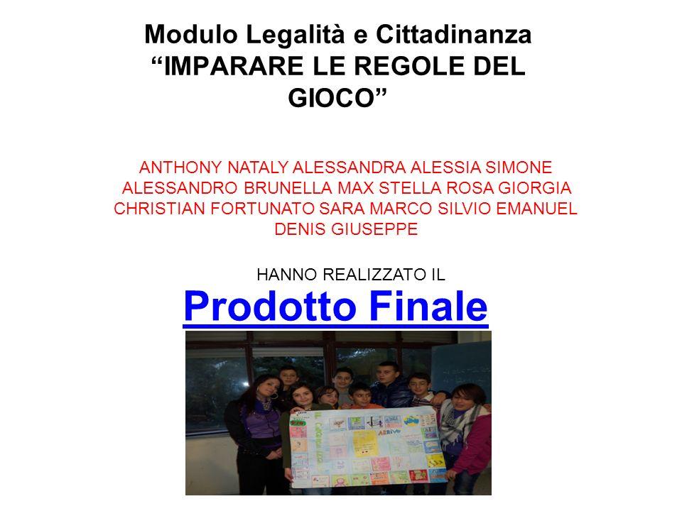 Prodotto Finale Modulo Legalità e Cittadinanza IMPARARE LE REGOLE DEL GIOCO ANTHONY NATALY ALESSANDRA ALESSIA SIMONE ALESSANDRO BRUNELLA MAX STELLA RO