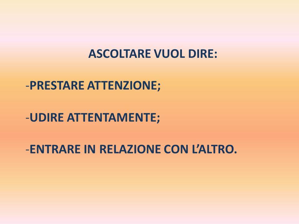 ASCOLTARE VUOL DIRE: -P-PRESTARE ATTENZIONE; -U-UDIRE ATTENTAMENTE; -E-ENTRARE IN RELAZIONE CON LALTRO.