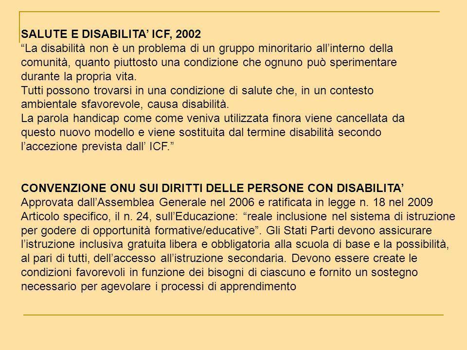 SALUTE E DISABILITA ICF, 2002 La disabilità non è un problema di un gruppo minoritario allinterno della comunità, quanto piuttosto una condizione che ognuno può sperimentare durante la propria vita.