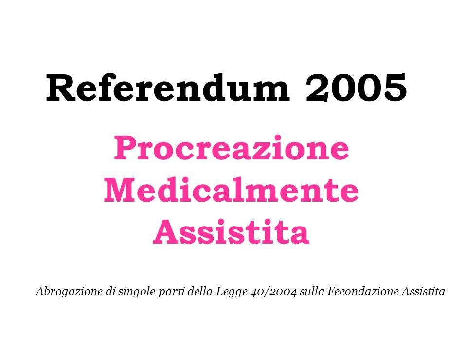 Referendum 2005 Procreazione Medicalmente Assistita Abrogazione di singole parti della Legge 40/2004 sulla Fecondazione Assistita