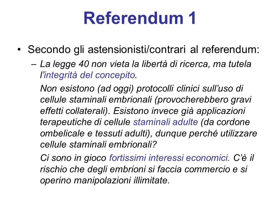 Referendum 1 Secondo gli astensionisti/contrari al referendum: –La legge 40 non vieta la libertà di ricerca, ma tutela lintegrità del concepito.