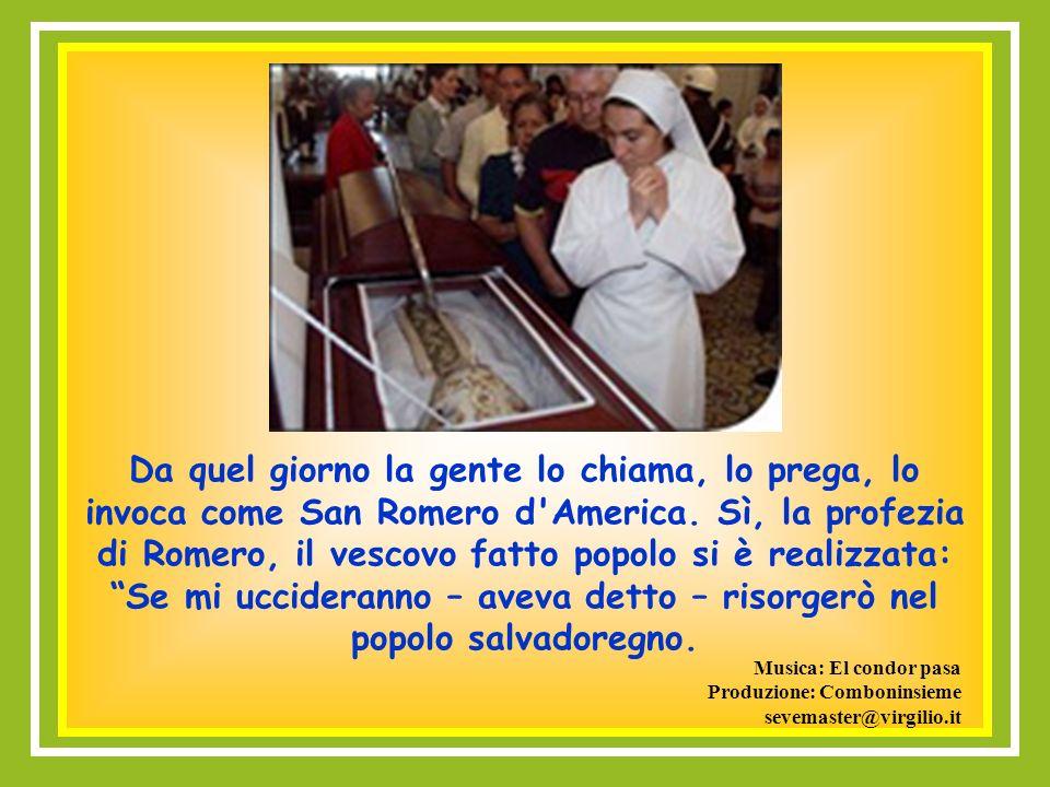 il 24 marzo 1980 Oscar Romero, proprio nel momento in cui sta elevando il Calice nell'Eucarestia viene assassinato. Le sue ultime parole sono ancora p