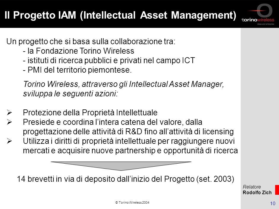 Relatore Rodolfo Zich 10 © Torino Wireless 2004 Il Progetto IAM (Intellectual Asset Management) Un progetto che si basa sulla collaborazione tra: - la Fondazione Torino Wireless - istituti di ricerca pubblici e privati nel campo ICT - PMI del territorio piemontese.