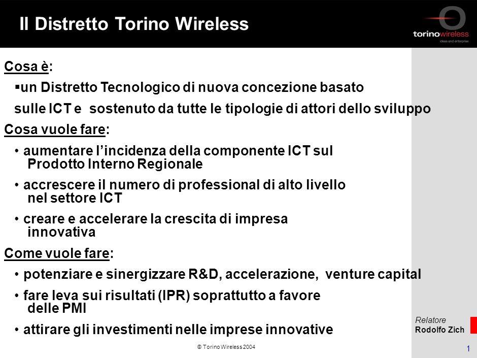 Relatore Rodolfo Zich 12 © Torino Wireless 2004 Business Plan: sviluppo e formazione Supporto alla valutazione del potenziale di business Ricerca primaria Ricerca secondaria; Consulenza strategica; Supporto allo sviluppo di Business Plan.