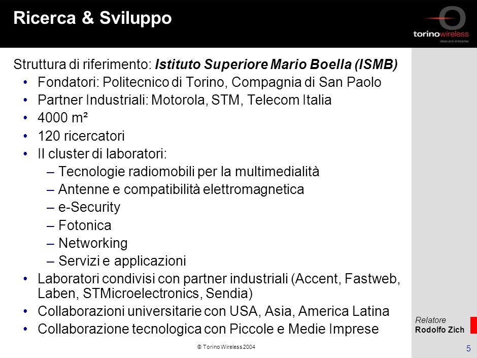 Relatore Rodolfo Zich 16 © Torino Wireless 2004 Struttura finanziaria di Torino Wireless Fondazione Torino Wireless Angel investments (Piemontech) S.G.R.