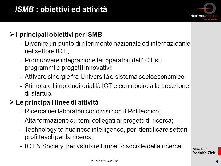 Relatore Rodolfo Zich 7 © Torino Wireless 2004 Azioni di accelerazione di impresa 1.Supporto alle Piccole e Medie Imprese (Progetto PMI).