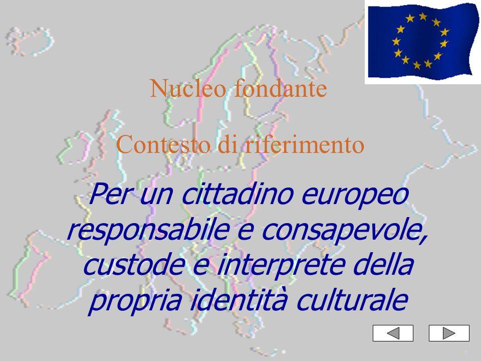 Per un cittadino europeo responsabile e consapevole, custode e interprete della propria identità culturale Nucleo fondante Contesto di riferimento