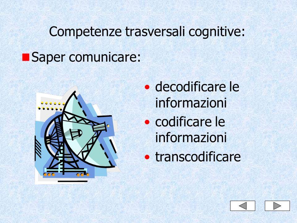 Competenze trasversali cognitive: Saper comunicare: decodificare le informazioni codificare le informazioni transcodificare
