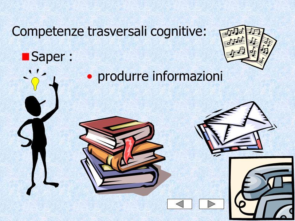Competenze trasversali cognitive: Saper : produrre informazioni
