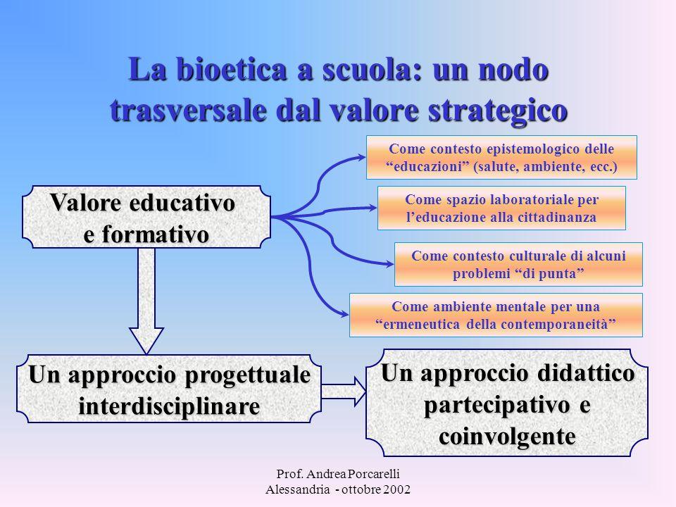 Prof. Andrea Porcarelli Alessandria - ottobre 2002 La bioetica a scuola: un nodo trasversale dal valore strategico Valore educativo e formativo Un app