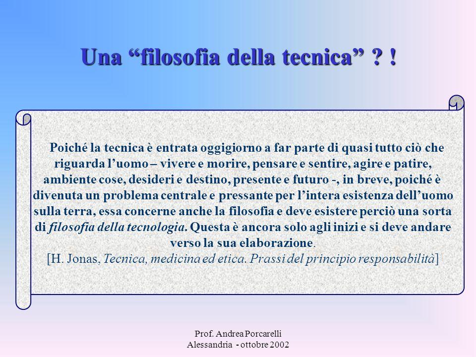 Prof. Andrea Porcarelli Alessandria - ottobre 2002 Una filosofia della tecnica ? ! Poiché la tecnica è entrata oggigiorno a far parte di quasi tutto c