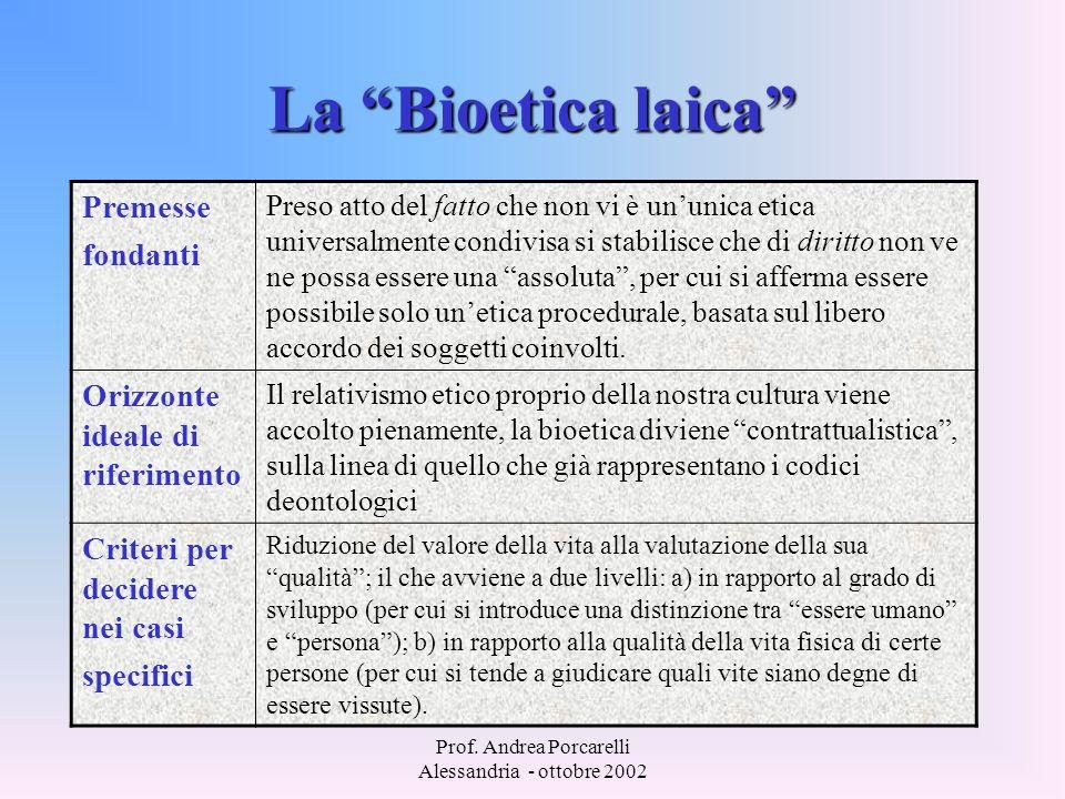 Prof. Andrea Porcarelli Alessandria - ottobre 2002 La Bioetica laica Premesse fondanti Preso atto del fatto che non vi è ununica etica universalmente
