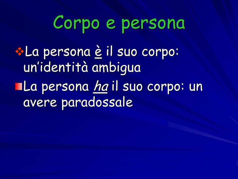 Corpo e persona La persona è il suo corpo: unidentità ambigua La persona è il suo corpo: unidentità ambigua La persona ha il suo corpo: un avere parad