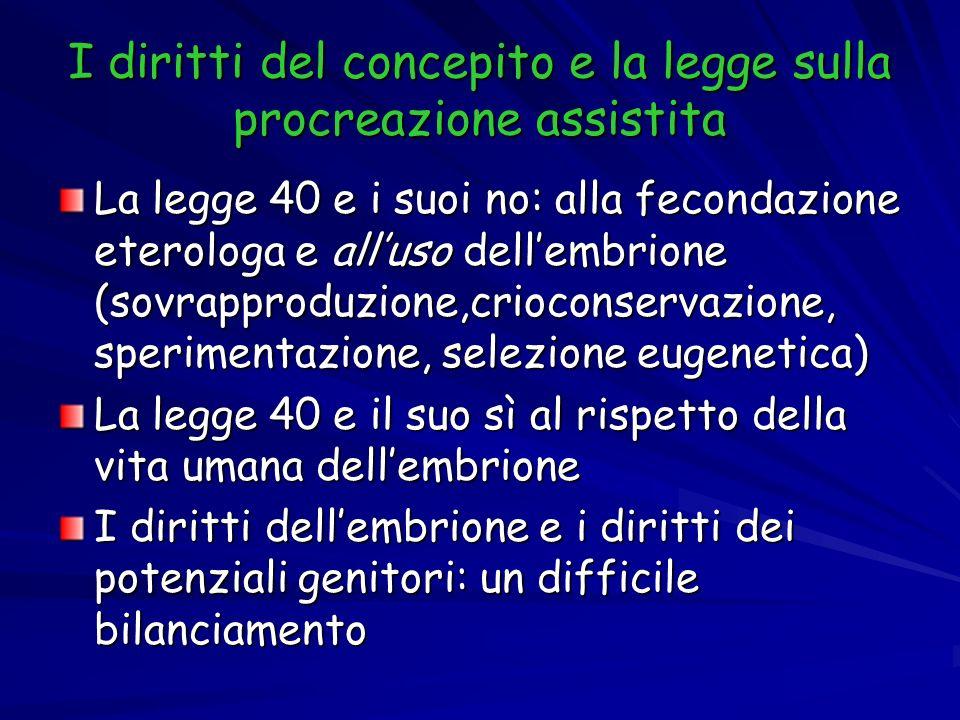 I diritti del concepito e la legge sulla procreazione assistita La legge 40 e i suoi no: alla fecondazione eterologa e alluso dellembrione (sovrapprod