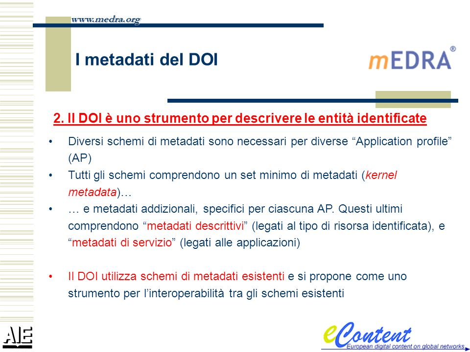 I metadati del DOI Diversi schemi di metadati sono necessari per diverse Application profile (AP) Tutti gli schemi comprendono un set minimo di metada
