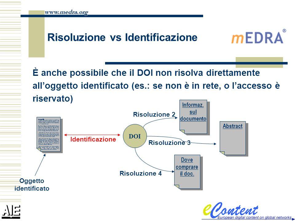 È anche possibile che il DOI non risolva direttamente alloggetto identificato (es.: se non è in rete, o laccesso è riservato) www.medra.org What the D