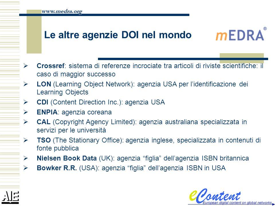 Le altre agenzie DOI nel mondo Crossref: sistema di referenze incrociate tra articoli di riviste scientifiche: il caso di maggior successo LON (Learni