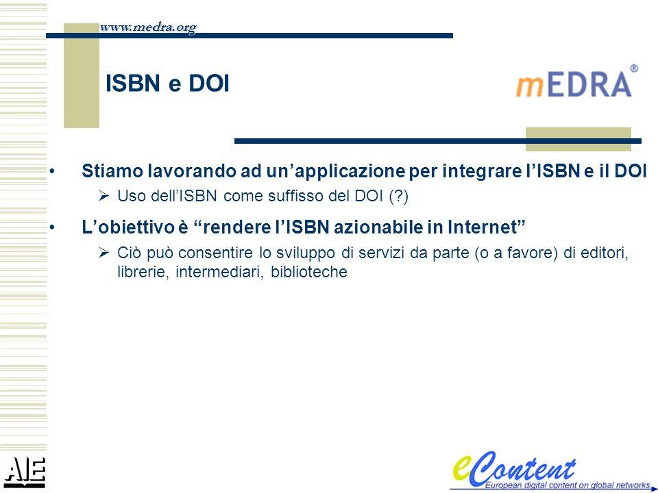 ISBN e DOI www.medra.org Stiamo lavorando ad unapplicazione per integrare lISBN e il DOI Uso dellISBN come suffisso del DOI (?) Lobiettivo è rendere l