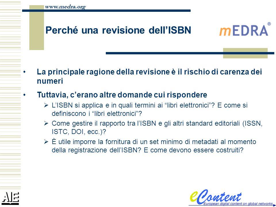 www.medra.org Perché una revisione dellISBN La principale ragione della revisione è il rischio di carenza dei numeri Tuttavia, cerano altre domande cu