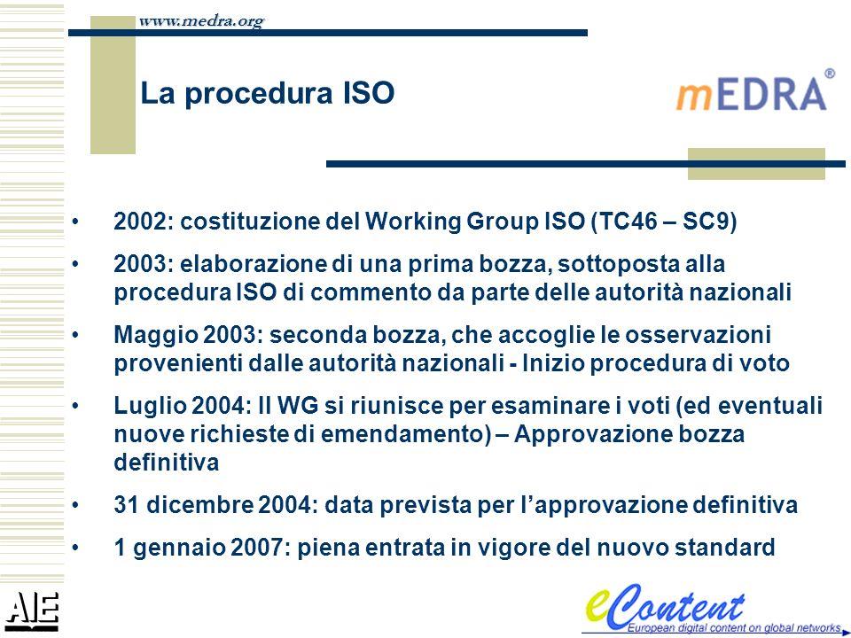 www.medra.org La procedura ISO 2002: costituzione del Working Group ISO (TC46 – SC9) 2003: elaborazione di una prima bozza, sottoposta alla procedura
