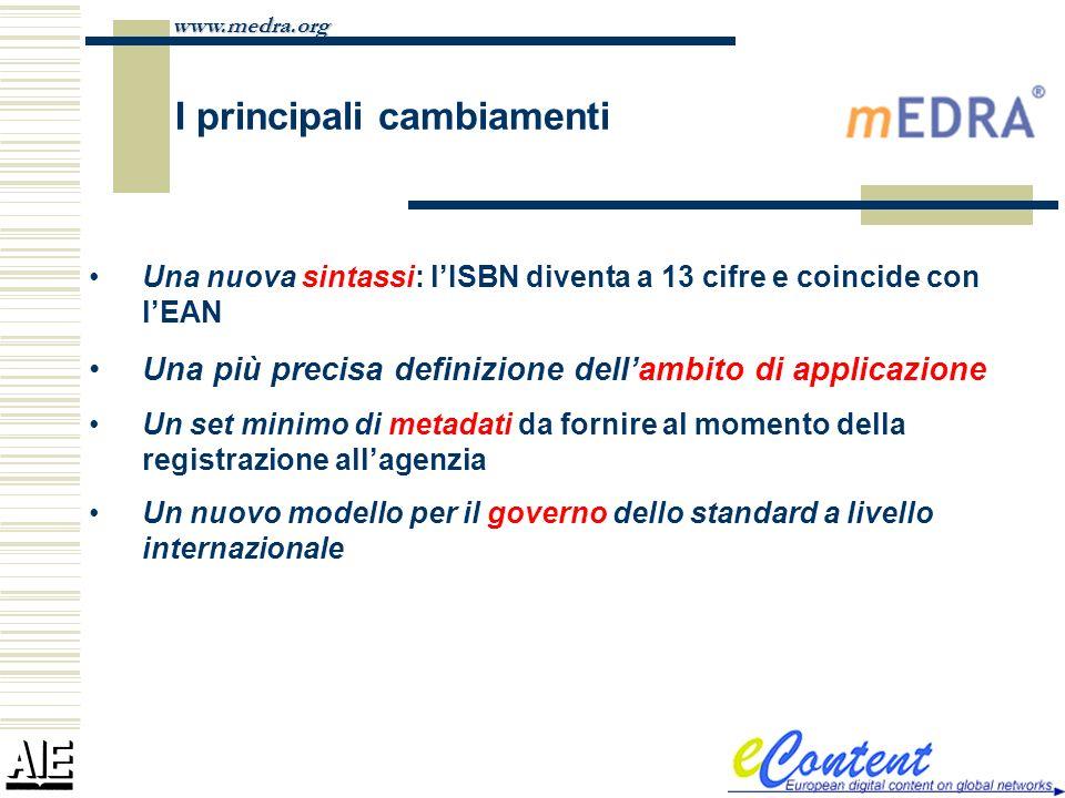 www.medra.org I principali cambiamenti Una nuova sintassi: lISBN diventa a 13 cifre e coincide con lEAN Una più precisa definizione dellambito di appl