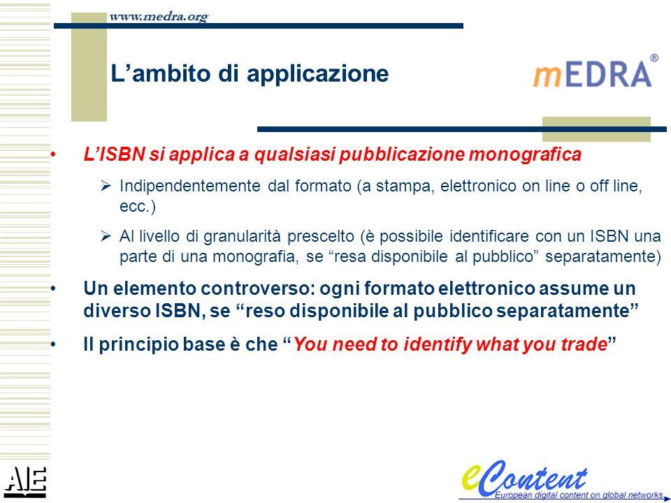 www.medra.org Lambito di applicazione LISBN si applica a qualsiasi pubblicazione monografica Indipendentemente dal formato (a stampa, elettronico on l