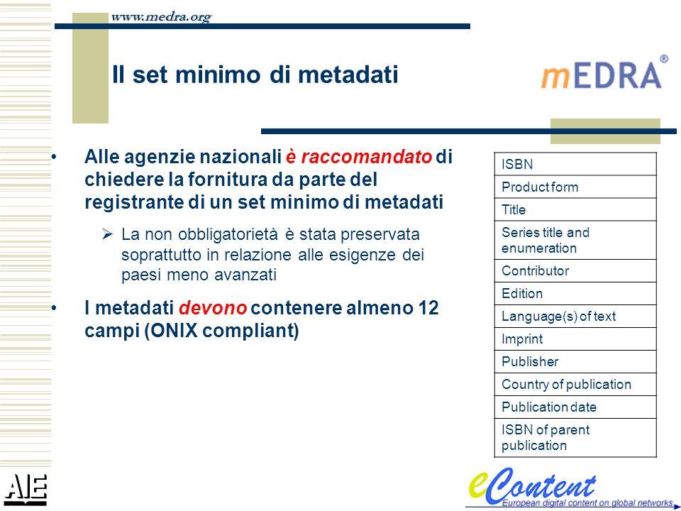 www.medra.org Il set minimo di metadati Alle agenzie nazionali è raccomandato di chiedere la fornitura da parte del registrante di un set minimo di me