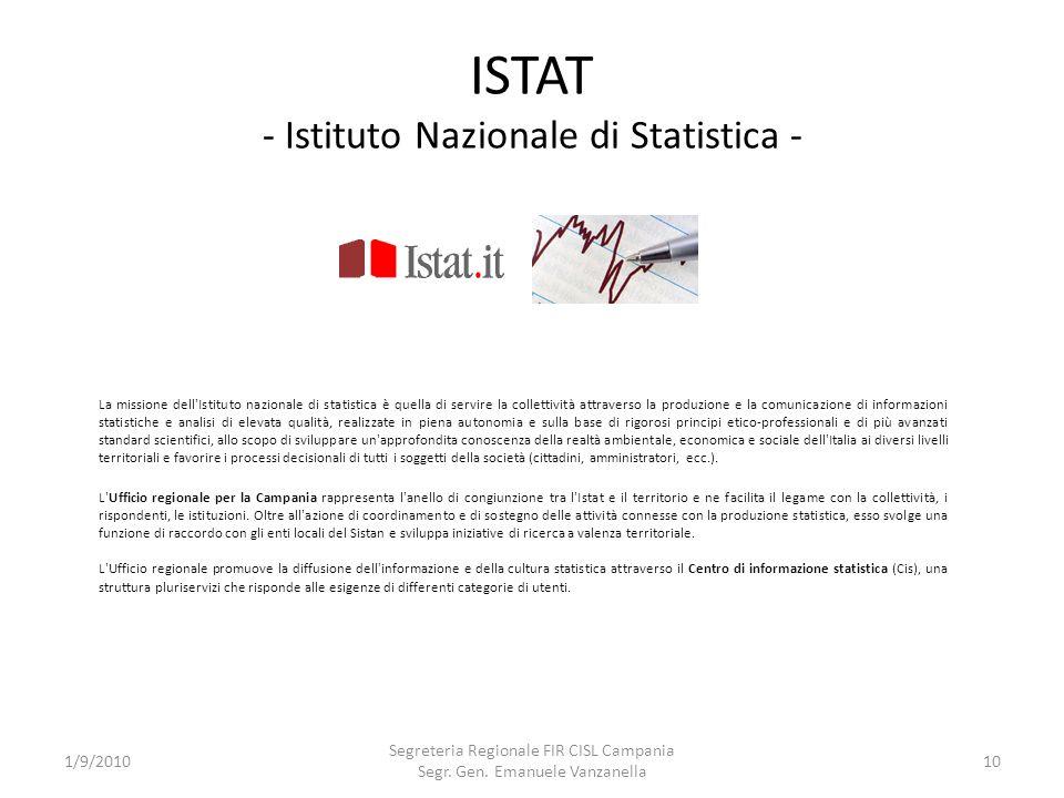 ISTAT - Istituto Nazionale di Statistica - 1/9/2010 Segreteria Regionale FIR CISL Campania Segr. Gen. Emanuele Vanzanella 10 L'Ufficio regionale per l