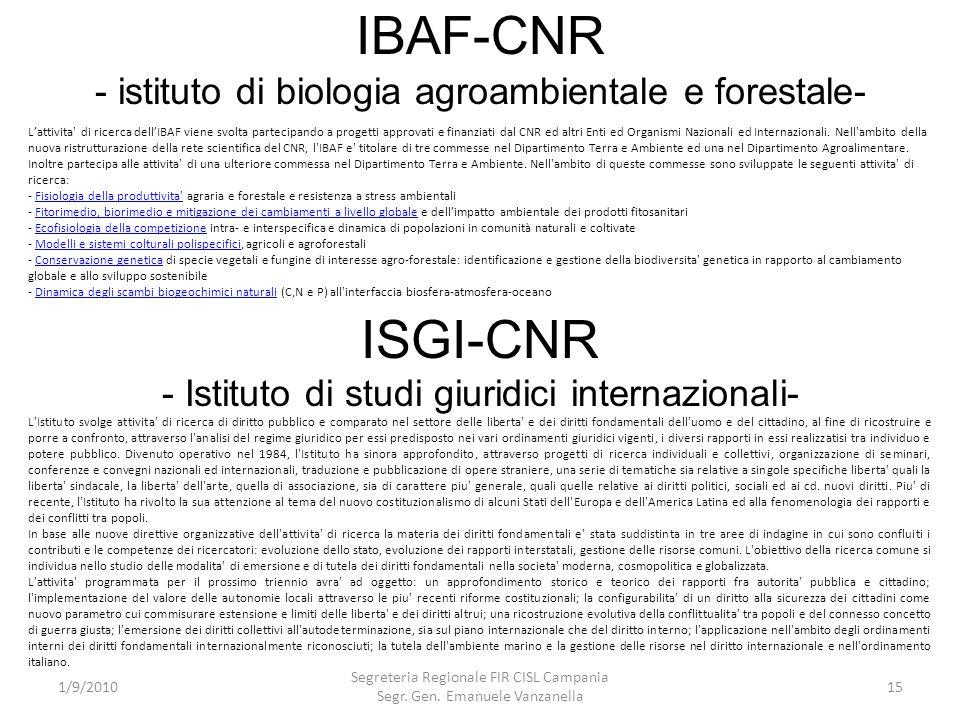 IBAF-CNR - istituto di biologia agroambientale e forestale- 1/9/2010 Segreteria Regionale FIR CISL Campania Segr. Gen. Emanuele Vanzanella 15 Lattivit