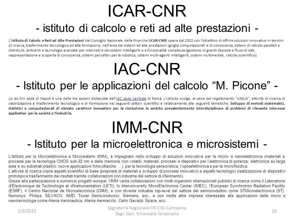 ICAR-CNR - istituto di calcolo e reti ad alte prestazioni - 1/9/2010 Segreteria Regionale FIR CISL Campania Segr. Gen. Emanuele Vanzanella 16 L'Istitu