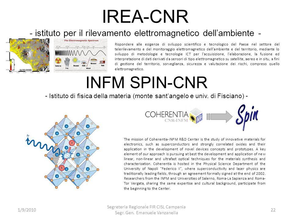 IREA-CNR - istituto per il rilevamento elettromagnetico dellambiente - 1/9/2010 Segreteria Regionale FIR CISL Campania Segr. Gen. Emanuele Vanzanella
