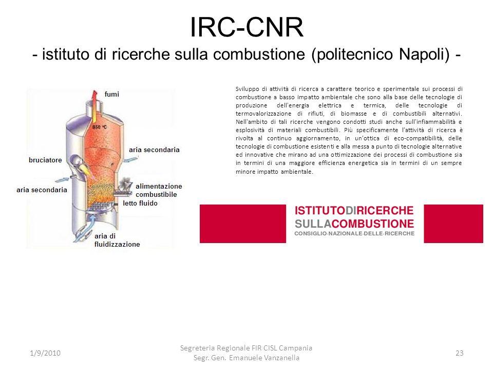IRC-CNR - istituto di ricerche sulla combustione (politecnico Napoli) - 1/9/2010 Segreteria Regionale FIR CISL Campania Segr. Gen. Emanuele Vanzanella