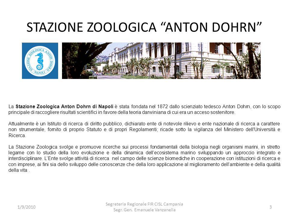 STAZIONE ZOOLOGICA ANTON DOHRN 1/9/2010 Segreteria Regionale FIR CISL Campania Segr. Gen. Emanuele Vanzanella 3 La Stazione Zoologica Anton Dohrn di N