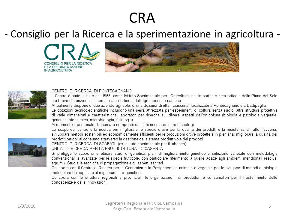 CRA - Consiglio per la Ricerca e la sperimentazione in agricoltura - 1/9/2010 Segreteria Regionale FIR CISL Campania Segr. Gen. Emanuele Vanzanella 6