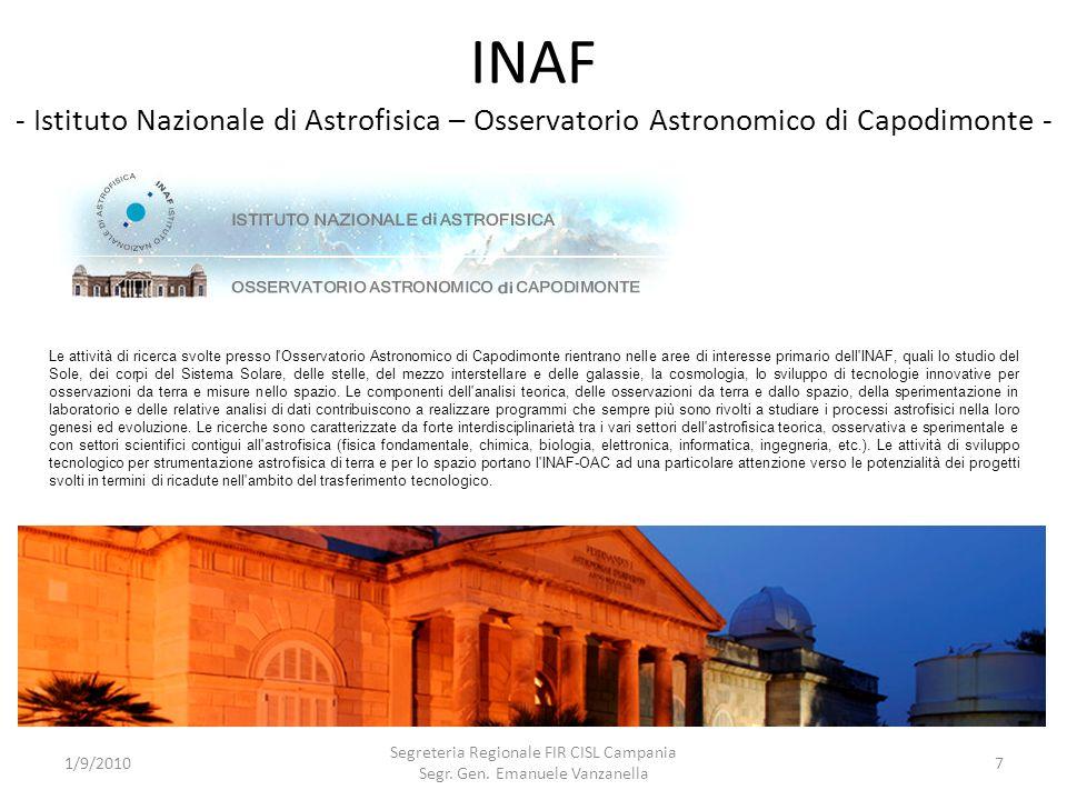 INAF - Istituto Nazionale di Astrofisica – Osservatorio Astronomico di Capodimonte - 1/9/2010 Segreteria Regionale FIR CISL Campania Segr. Gen. Emanue