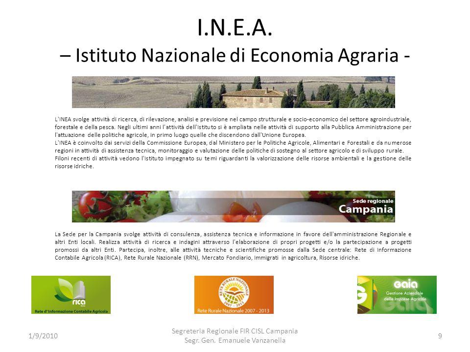 I.N.E.A. – Istituto Nazionale di Economia Agraria - 1/9/2010 Segreteria Regionale FIR CISL Campania Segr. Gen. Emanuele Vanzanella 9 La Sede per la Ca