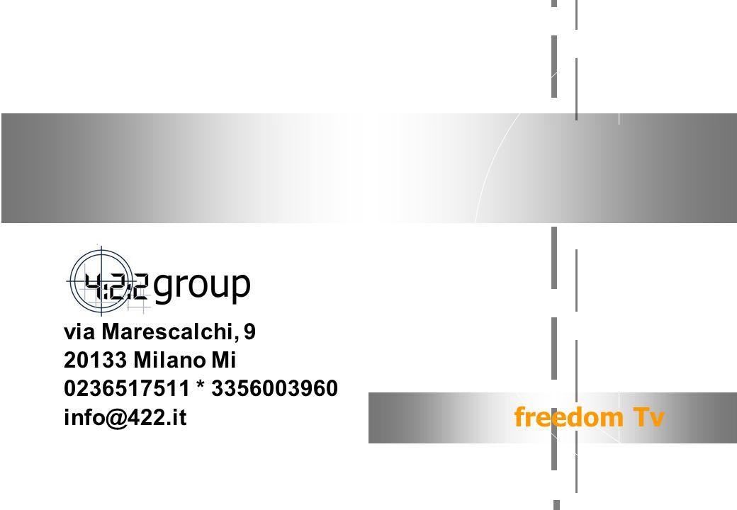 via Marescalchi, 9 20133 Milano Mi 0236517511 * 3356003960 info@422.it freedom Tv