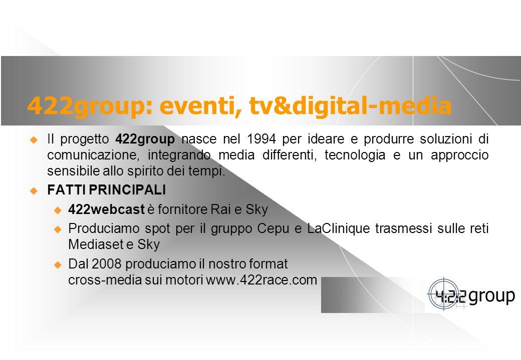2 422group: eventi, tv&digital-media Il progetto 422group nasce nel 1994 per ideare e produrre soluzioni di comunicazione, integrando media differenti