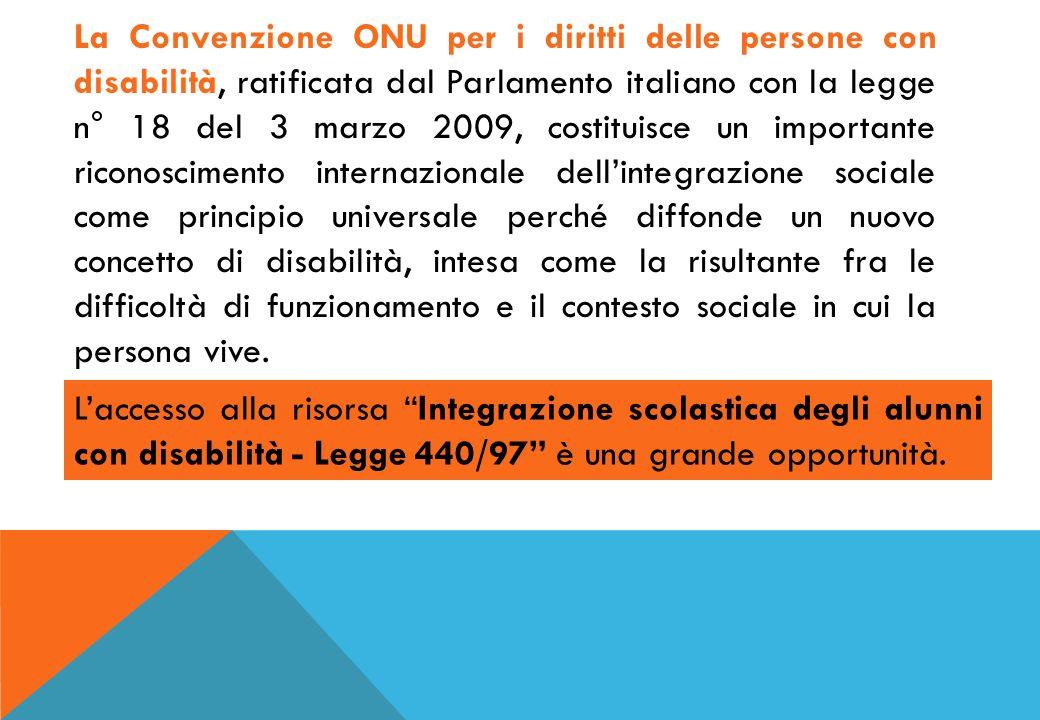 La Convenzione ONU per i diritti delle persone con disabilità, ratificata dal Parlamento italiano con la legge n° 18 del 3 marzo 2009, costituisce un importante riconoscimento internazionale dellintegrazione sociale come principio universale perché diffonde un nuovo concetto di disabilità, intesa come la risultante fra le difficoltà di funzionamento e il contesto sociale in cui la persona vive.