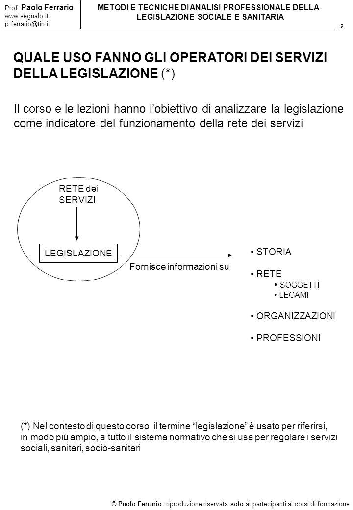 2 © Paolo Ferrario: riproduzione riservata solo ai partecipanti ai corsi di formazione Prof. Paolo Ferrario www.segnalo.it p.ferrario@tin.it METODI E