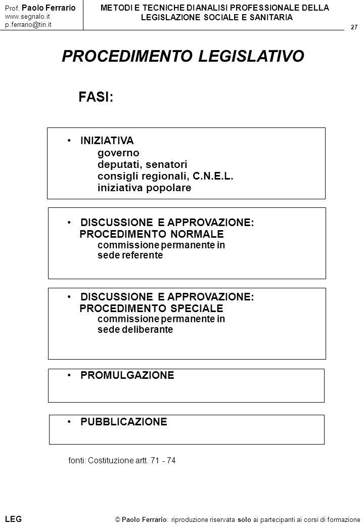 27 © Paolo Ferrario: riproduzione riservata solo ai partecipanti ai corsi di formazione Prof. Paolo Ferrario www.segnalo.it p.ferrario@tin.it METODI E