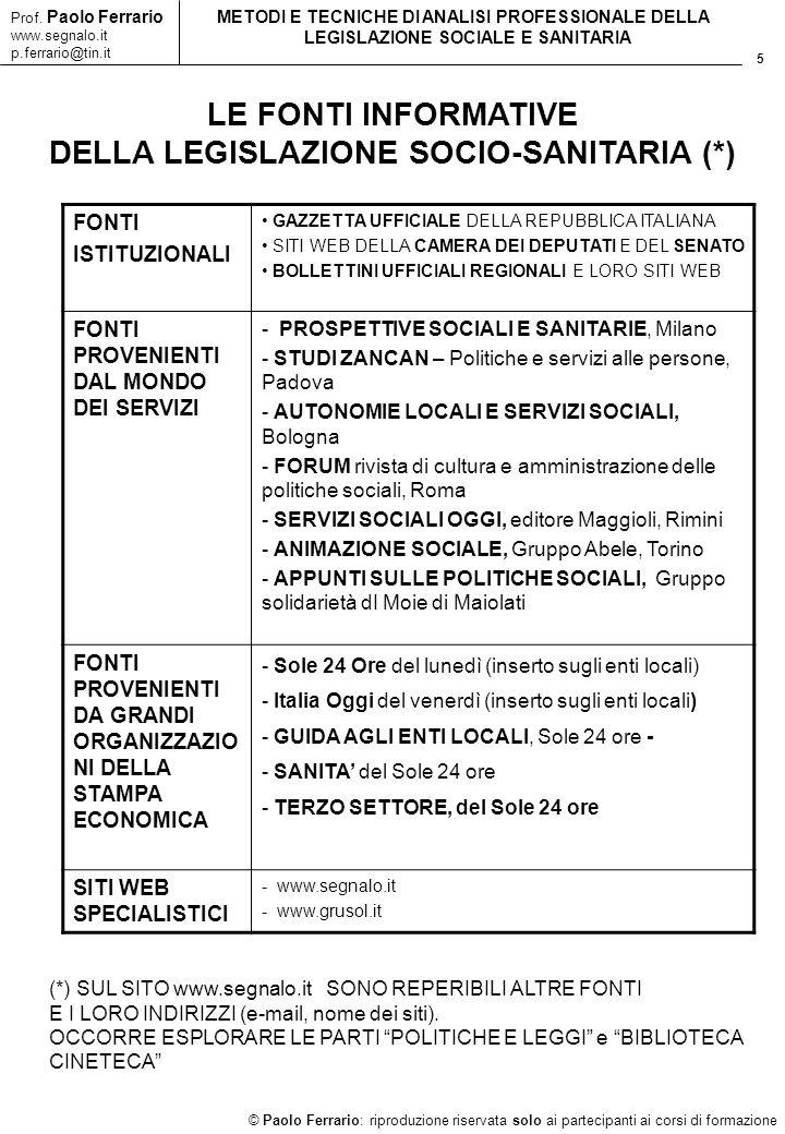 5 © Paolo Ferrario: riproduzione riservata solo ai partecipanti ai corsi di formazione Prof. Paolo Ferrario www.segnalo.it p.ferrario@tin.it METODI E