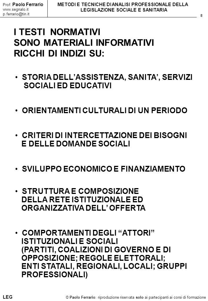 8 © Paolo Ferrario: riproduzione riservata solo ai partecipanti ai corsi di formazione Prof. Paolo Ferrario www.segnalo.it p.ferrario@tin.it METODI E