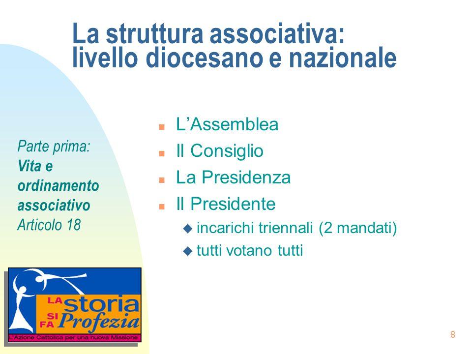 8 La struttura associativa: livello diocesano e nazionale n LAssemblea n Il Consiglio n La Presidenza n Il Presidente u incarichi triennali (2 mandati